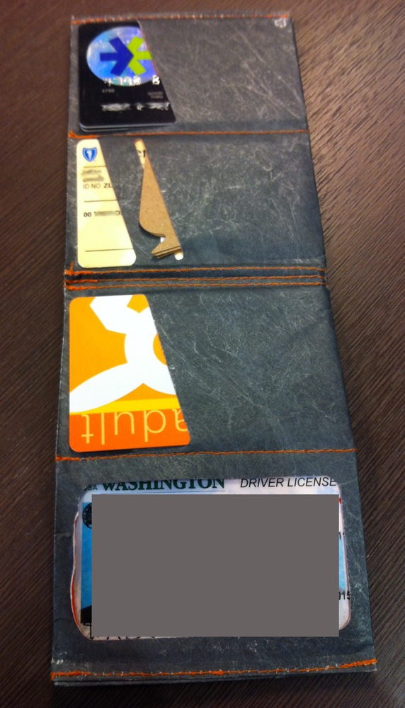 Photo of SlimFold Tyvek Wallet in use